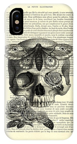 Anatomy iPhone Case - Skull With Hawkmoth Black And White by Madame Memento