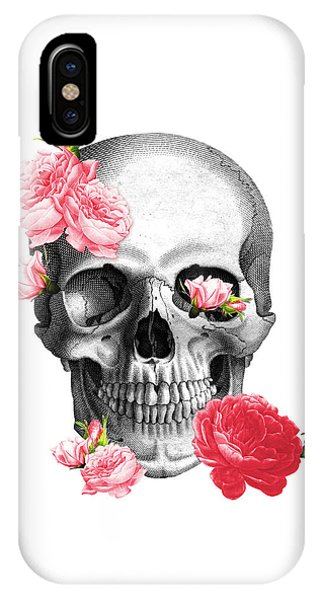 Anatomy iPhone Case - Skull With Pink Roses Framed Art Print by Madame Memento