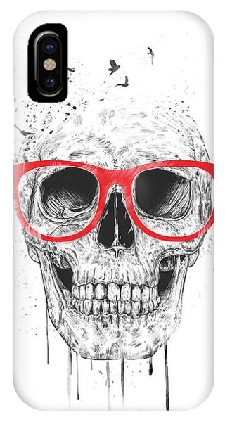 Glasses iPhone Case - Skull With Red Glasses by Balazs Solti