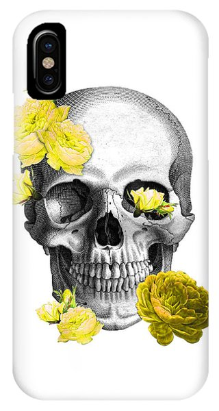 Anatomy iPhone Case - Skull Yellow Roses by Madame Memento