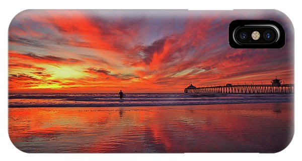 Sky On Fire At The Imperial Beach Pier IPhone Case