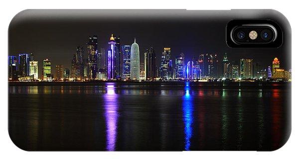 Skyline Of Doha, Qatar At Night IPhone Case