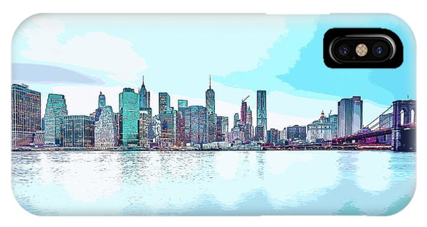 Skyline Of New York City, United States In Blues IPhone Case