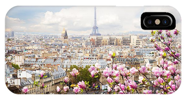 skyline of Paris with eiffel tower IPhone Case