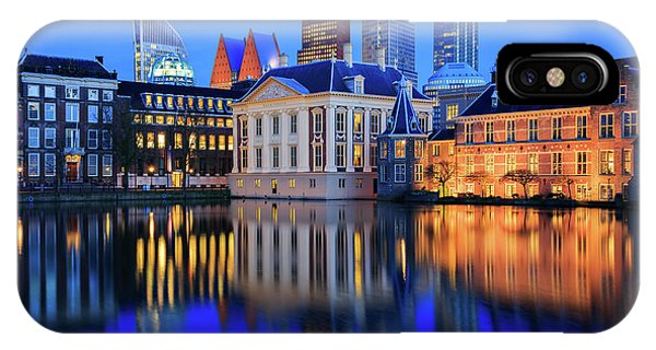 IPhone Case featuring the photograph Skyline Of The Hague At Dusk During Blue Hour by IPics Photography