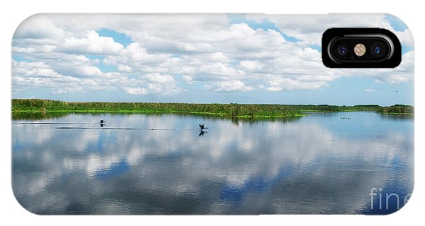 Skyscape Reflections Blue Cypress Marsh Conservation Area Near Vero Beach Florida C2 IPhone Case