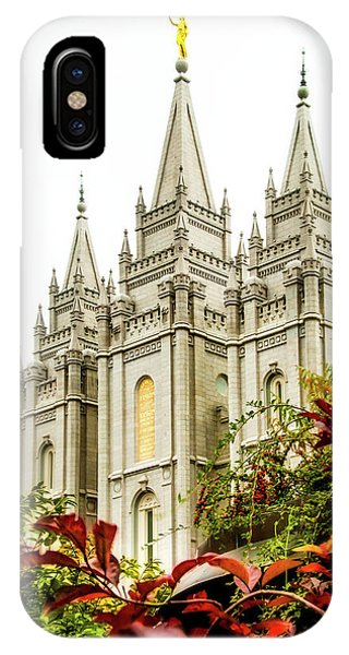 Temple iPhone Case - Slc Temple Angle by La Rae  Roberts