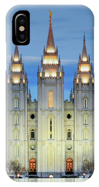 Temple iPhone Case - Slc Temple Blue by La Rae  Roberts