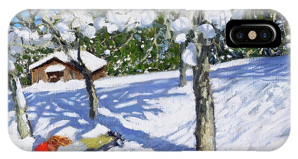 Orchard iPhone Case - Sledging In The Orchard, Morzine by Andrew Macara
