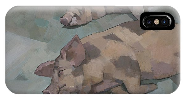 IPhone Case featuring the painting Sleeping Pigs by Steve Mitchell