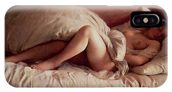Relaxation iPhone Case - Sleeping Woman by Johann Baptist Reiter
