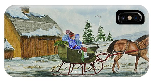 New England Barn iPhone Case - Sleigh Ride by Charlotte Blanchard