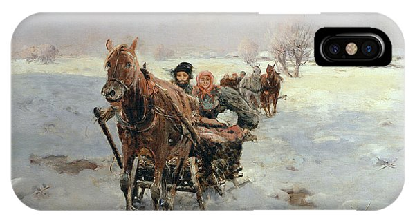 Sleighs In A Winter Landscape IPhone Case