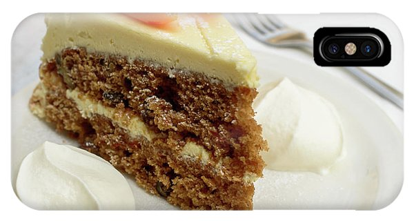 IPhone Case featuring the photograph Slice Of Carrot Cake With Cream A by Jacek Wojnarowski