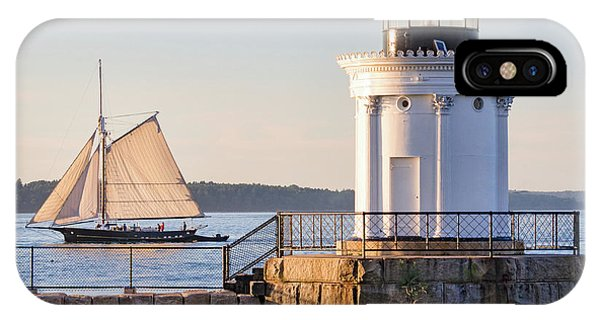 Sloop And Lighthouse, South Portland, Maine  -56170 IPhone Case