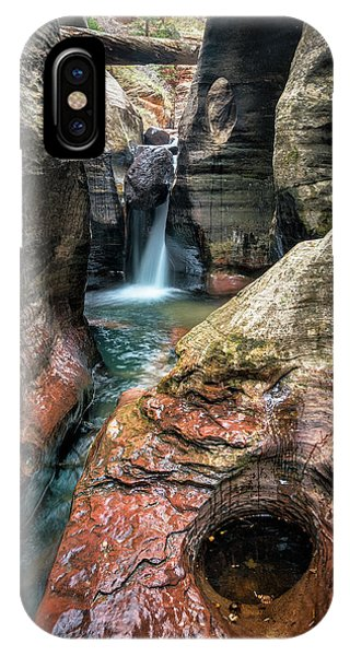 Slot Canyon Waterfall At Zion National Park IPhone Case