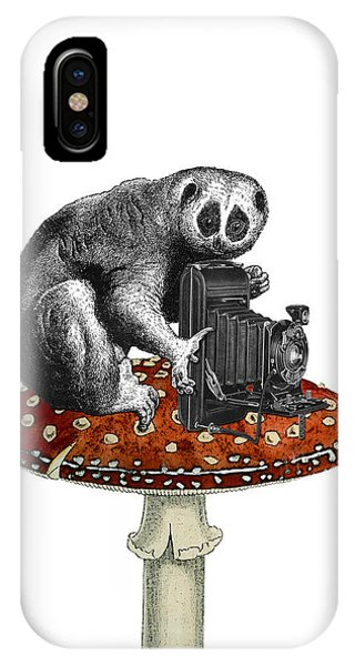 Mammal iPhone Case - Slow Loris With Antique Camera by Madame Memento