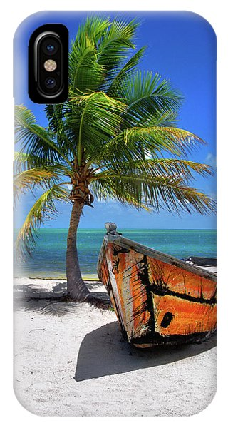 Small Boat And Palm Tree On White Sandy Beach In The Florida Keys IPhone Case