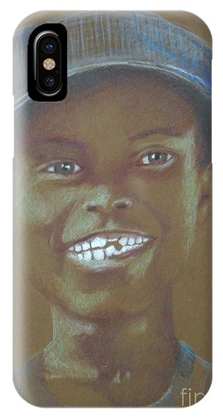 Small Boy, Big Grin -- Retro Portrait Of Black Boy IPhone Case