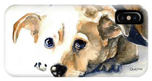 Watercolor Pet Portraits iPhone Case - Small Dog With Tan Short Hair  by Carlin Blahnik CarlinArtWatercolor