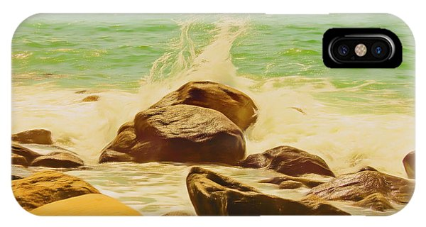 Small Ocean Waves,large Rocks. IPhone Case