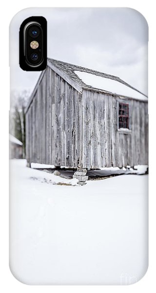 New England Barn iPhone Case - Small Old Wooden Barn On A Farm In Winter by Edward Fielding