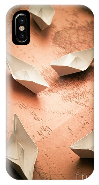 Navigation iPhone Case - Small Paper Boats On Top Of Old Map by Jorgo Photography - Wall Art Gallery