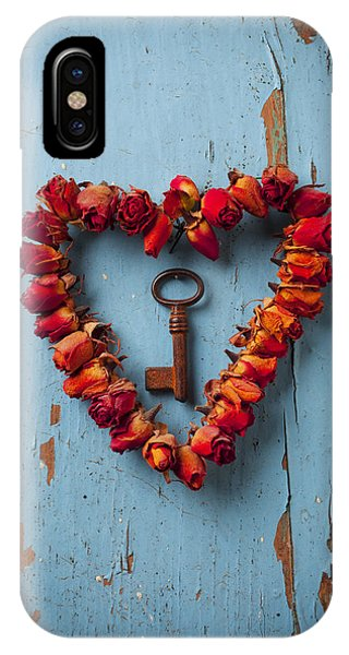 Small Rose Heart Wreath With Key IPhone Case