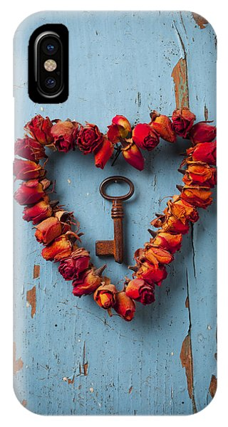 Floral iPhone Case - Small Rose Heart Wreath With Key by Garry Gay