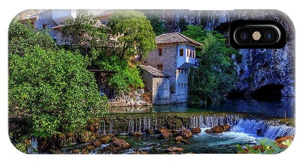 Mostar iPhone Case - Small Village Blagaj On Buna Waterfall, Bosnia And Herzegovina by Elenarts - Elena Duvernay photo