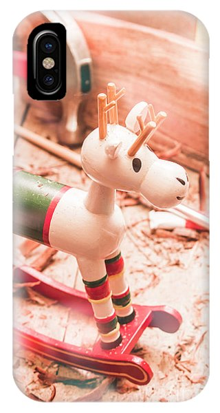 White Horse iPhone Case - Small Xmas Reindeer On Wood Shavings In Workshop by Jorgo Photography - Wall Art Gallery