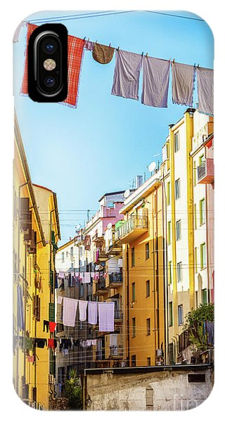 IPhone Case featuring the photograph small yard in old town La Spezia, Italy by Ariadna De Raadt