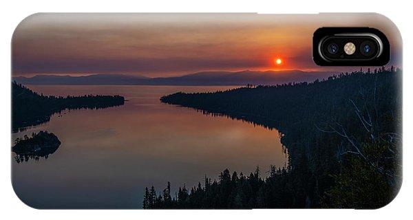 Smoke-diffused Sun At Emerald Bay IPhone Case