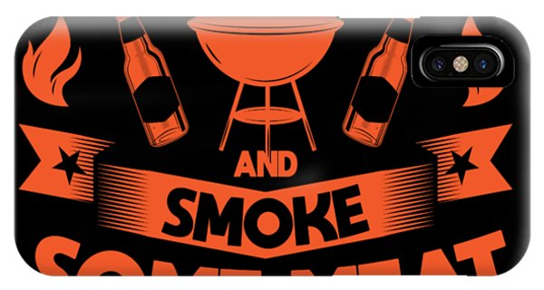 Barbeque iPhone Case - Smoke Meat Drink Beer Pun Bbq Barbecue Gift by Michael S