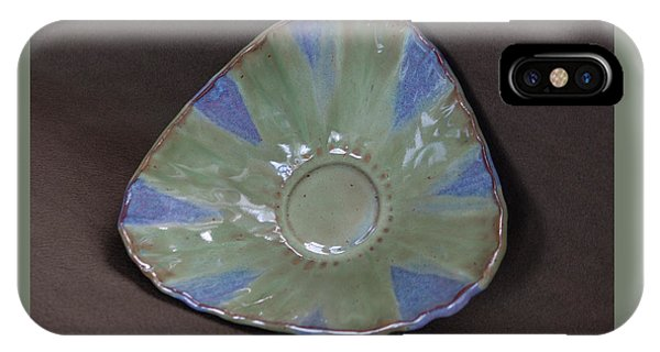 Hand Thrown Pottery iPhone Case - Smokey Merlot And Seaweed Triangular Bowl by Suzanne Gaff