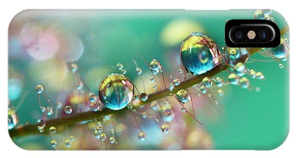 Shrubs iPhone Case - Smokey Rainbow Drops by Sharon Johnstone