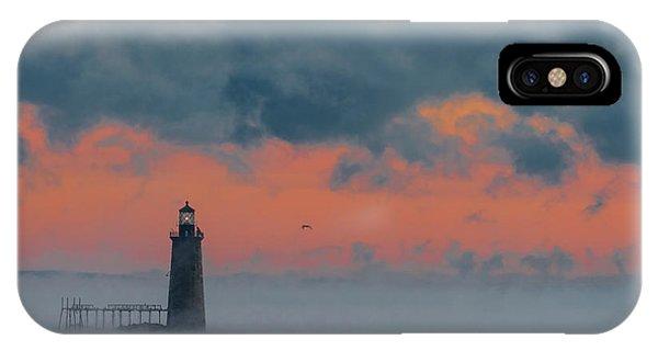 Smokey Sunrise At Ram Island Ledge Light IPhone Case
