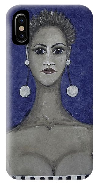 iPhone Case - Smoking Woman 3 - Blue by Joan Stratton