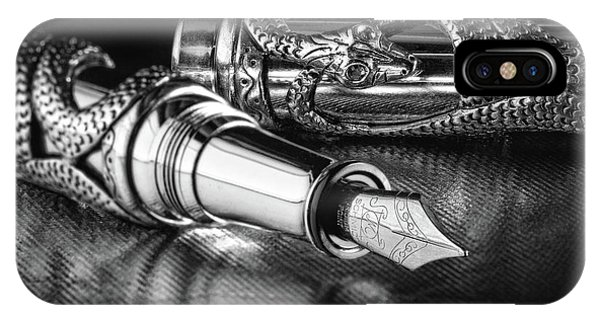 Ink iPhone Case - Snake Pen In Black And White by Tom Mc Nemar