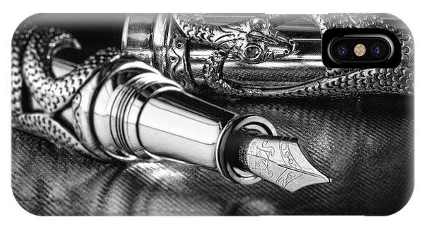 Viper iPhone Case - Snake Pen In Black And White by Tom Mc Nemar