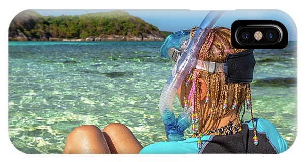 Snorkeler Relaxing On Tropical Beach IPhone Case