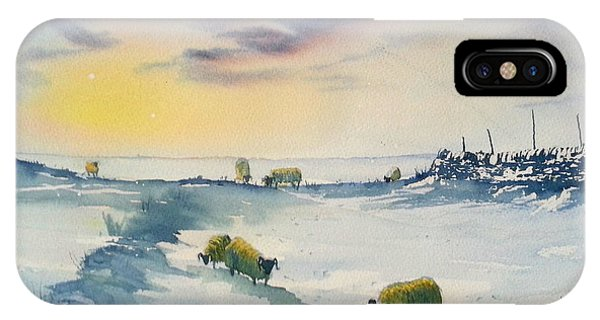 Snow And Sheep On The Moors IPhone Case