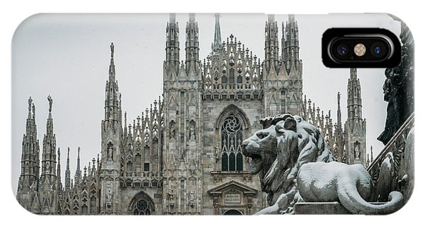 Snow At Milan's Duomo Cathedral  IPhone Case