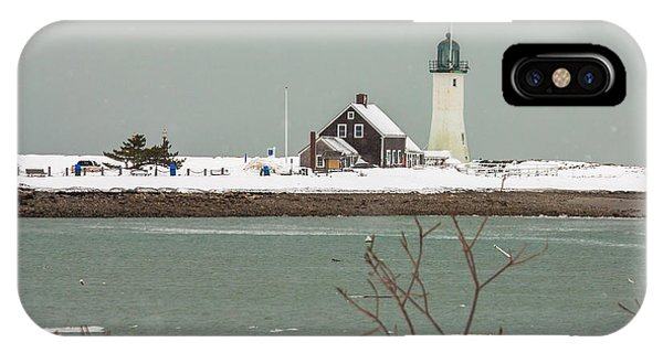 Snow At Scituate Lighthouse IPhone Case