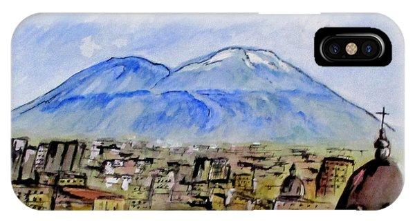 IPhone Case featuring the painting Snow Capped Vesuvio by Clyde J Kell