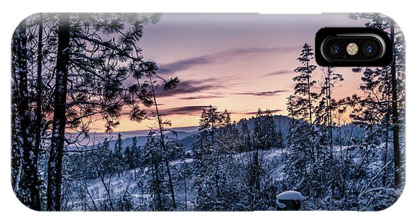 Snow Coved Trees And Sunset IPhone Case