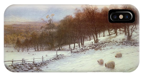 Snow Covered Fields With Sheep IPhone Case