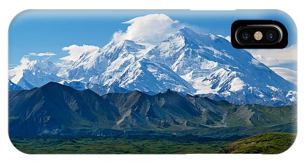 Snow-covered Mount Mckinley, Blue Sky IPhone Case