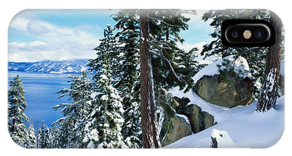 Snow Covered Trees On Mountainside IPhone Case