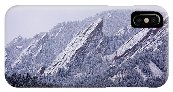Snow Dusted Flatirons Boulder Colorado IPhone Case